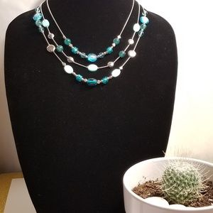 TURQUOISE SILVER THREE LAYERD NECKLACE